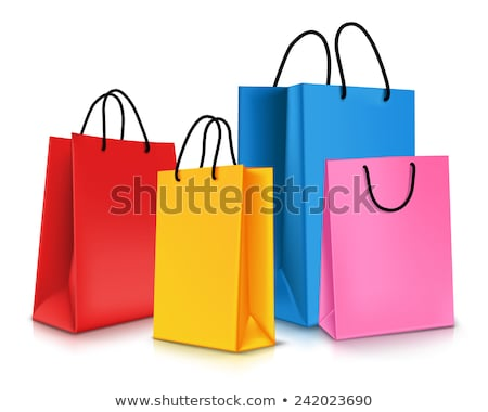 vermelho · papel · colorido · bolsa · de · compras · vetor - foto stock © brittenham