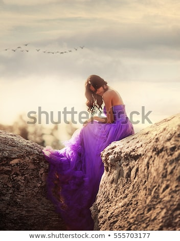 Mountain Princess Elf in Waving Blue Dress Stock photo © ankarb