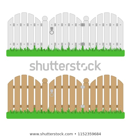 Stock photo: Old green wooden fence texture