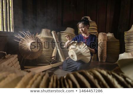 Mulher bambu mulheres feliz trabalhar fundo Foto stock © aza