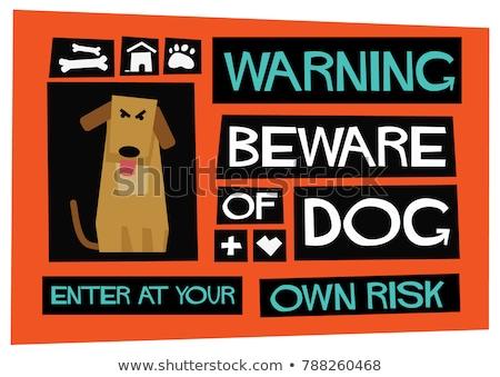 Saját kockázat grunge citromsárga figyelmeztető jel kerítés Stock fotó © stevanovicigor