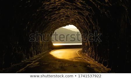 Befejezés alagút kijárat fény férfi fekete Stock fotó © adamr