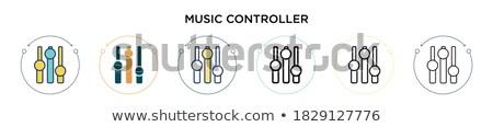 Multimedialnych czarny wektora przycisk ikona projektu Zdjęcia stock © rizwanali3d