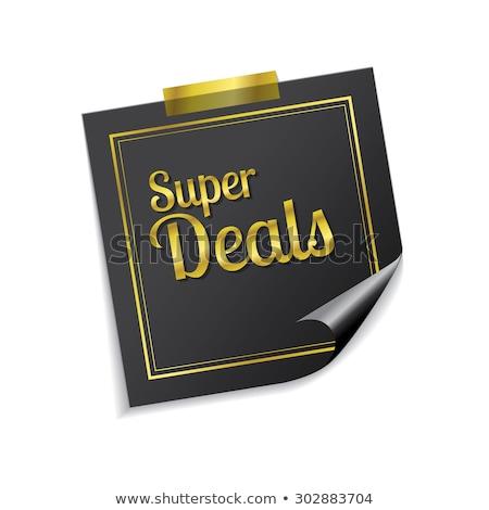 Super gouden sticky notes vector icon Stockfoto © rizwanali3d
