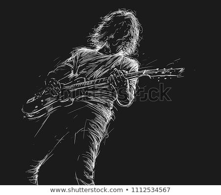 katı · hüzün · gitar · kaya · rulo · maun - stok fotoğraf © bigalbaloo