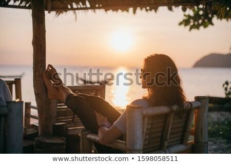 Chair by the setting sun Stock photo © olandsfokus