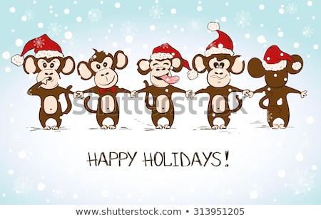 год · обезьяны · смешные · джунгли · празднования · Cute - Сток-фото © adrenalina