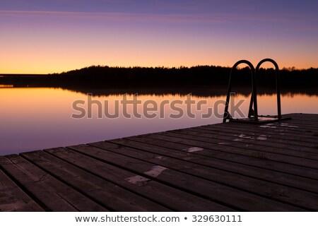 éjszaka úszás dokk higgadt tó szürkület Stock fotó © Juhku