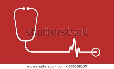 estetoscopio · corazón · supervisar · azul · pluma · mesa - foto stock © jordanrusev
