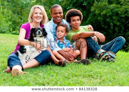 Fiatal félvér családi portré kint boldog vonzó Stock fotó © feverpitch