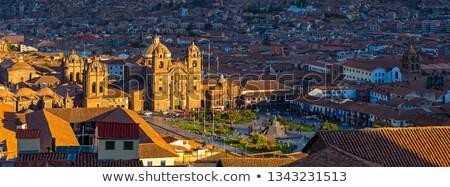 Katedral kilise Peru Bina evler tatil Stok fotoğraf © alexmillos