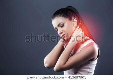 Dość brunetka cierpienie ból szyi biały kobieta Zdjęcia stock © wavebreak_media
