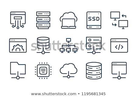 компьютер сервер икона дизайна безопасности работает Сток-фото © kiddaikiddee