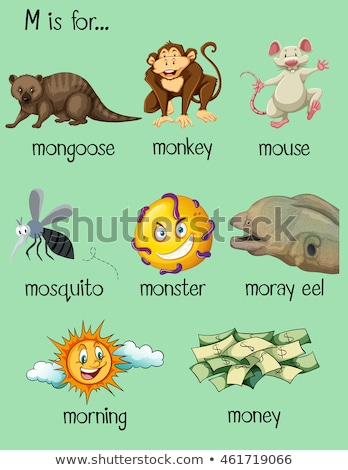 Stock photo: Flashcard letter M is for moray eel