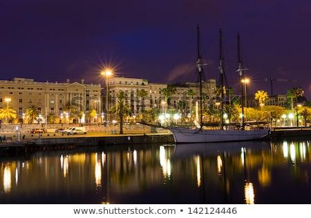 Barcelona · Spanyolország · központi · utca · éjszaka · holdfény - stock fotó © neirfy