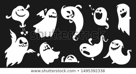 Foto stock: Halloween · fantasma · ilustração · desenho · animado · noite · diversão