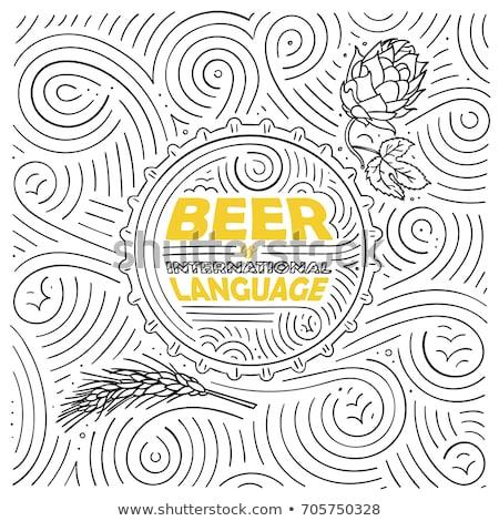 Világos sör sör kézzel írott tinta ecset kalligráfia Stock fotó © Anna_leni