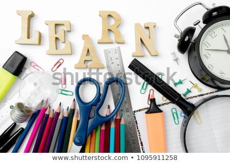 Relógio palavra aprender mesa de madeira escritório escolas Foto stock © fuzzbones0