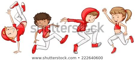 Stok fotoğraf: Kroki · enerjik · hip-hop · dansçı · örnek · beyaz