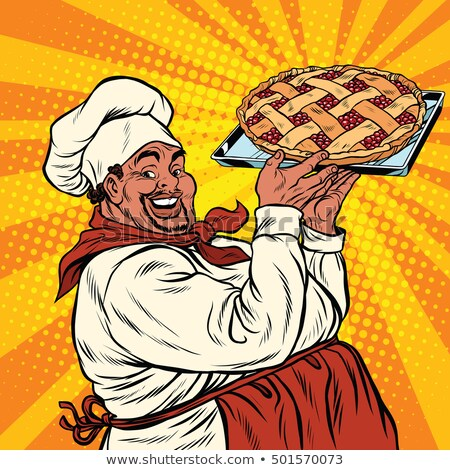 African American or Latino cook with a berry pie Stock photo © studiostoks