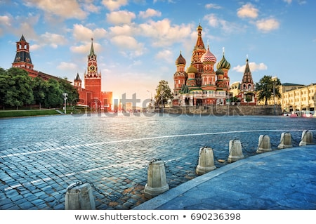 the kremlin spasskaya tower on red square in moscow stock photo © simply
