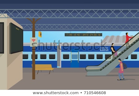 man at the train station vector illustration stock photo © rastudio
