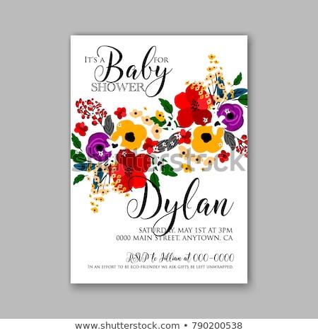 beautiful baby boy shower template with watercolor flowers Stock photo © balasoiu