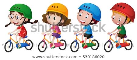 moto · persona · casco · vidrio · silueta - foto stock © vectorworks51