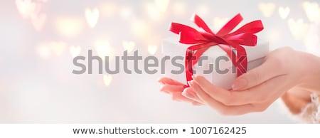 vermelho · amor · coração · caixa · de · presente · casamento · dom - foto stock © janssenkruseproducti