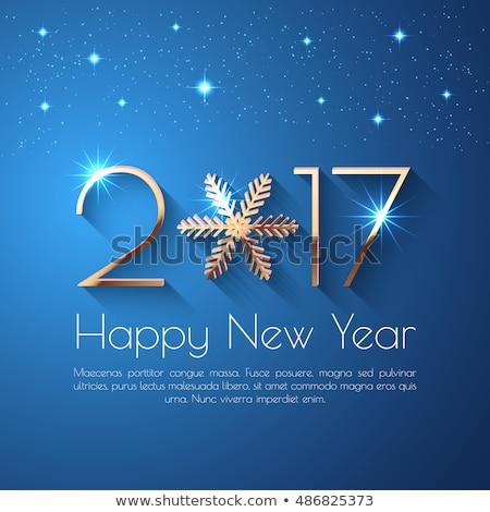 Kreative glückliches neues Jahr Text Schneeflocken glücklich Hintergrund Stock foto © SArts