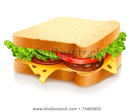 appetizing sandwich with cheese sausage and vegetables stock photo © loopall