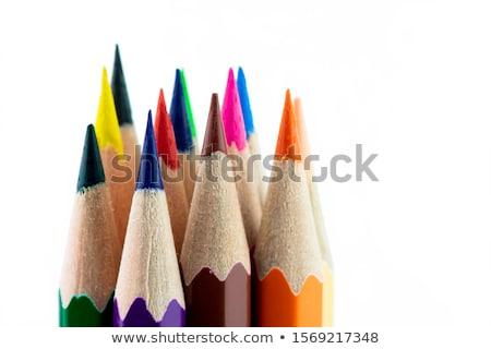 Ołówki cztery kolorowy grafit biały drewniany stół Zdjęcia stock © RazvanPhotography