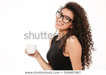 Incredible young curly african lady standing with documents Stock photo © deandrobot
