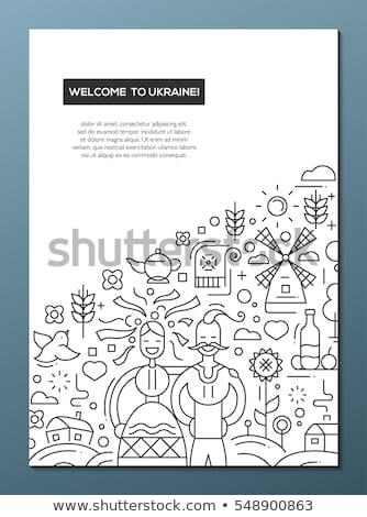 bem-vindo · linha · projeto · folheto · cartaz · modelo - foto stock © decorwithme