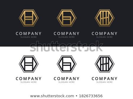 h · betű · bent · színes · hatszög · forma · absztrakt - stock fotó © user_11138126