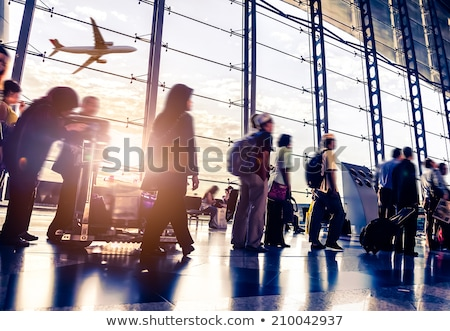 Stockfoto: Passagiers · wachten · luchthaven · vertrek · salon · man