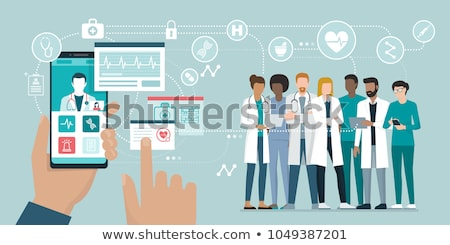 Orvosok csapat orvosi ikonok egészségügy vektor Stock fotó © vectorikart