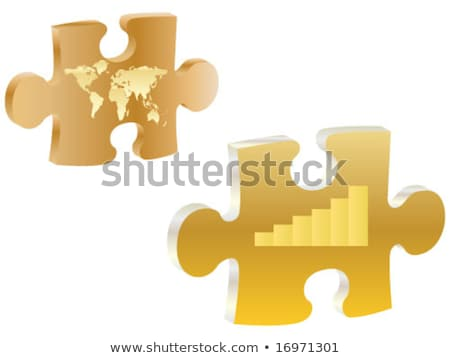 gold and silver jigsaw puzzle pieces connected in the whole stock photo © tuulijumala