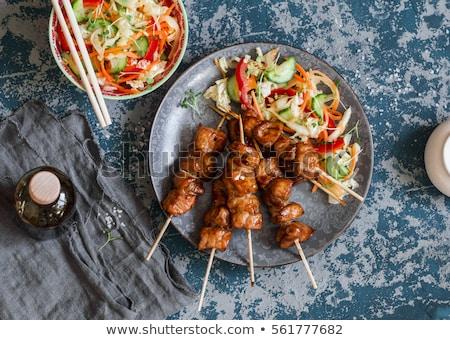 Stock fotó: Disznóhús · nyárs · fokhagyma · koktélparadicsom · étel · hús