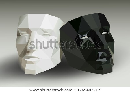 abstract black polyhedron particles background Stock photo © SArts