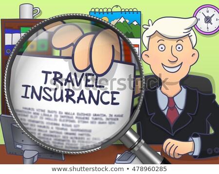 travel insurance through magnifying glass doodle concept stock photo © tashatuvango