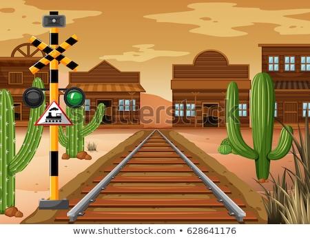 Ferrovia seguir vaqueiro cidade ilustração edifício Foto stock © bluering