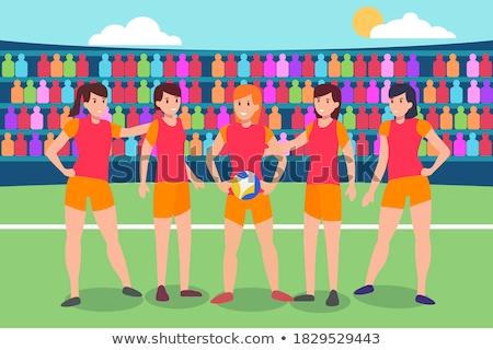 女性 プレーヤー 立って 一緒に ボール バレーボール ストックフォト © wavebreak_media