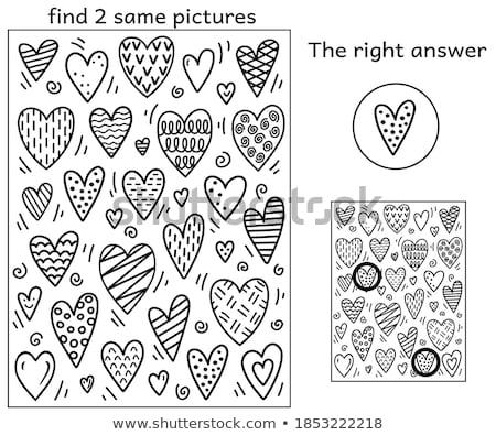Talál azonos szívek játék kifestőkönyv gyerekek Stock fotó © Olena