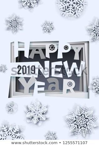 kivágás · boldog · ünnepek · hópehely · kártya · vektor - stock fotó © piccola