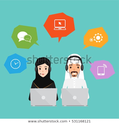 Arab operator saudi man with headset customer service helpdesk s Stock photo © NikoDzhi