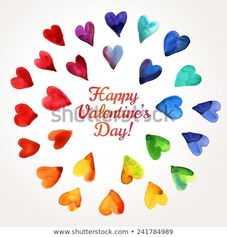Grunge rainbow colored hearts Stock photo © Sonya_illustrations