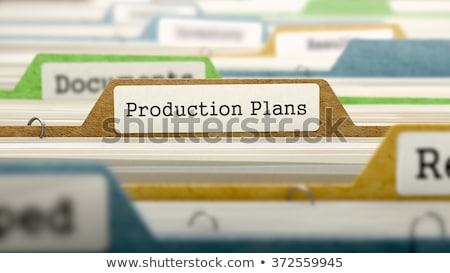 Mappa gyártás tervek 3D írott kártya Stock fotó © tashatuvango