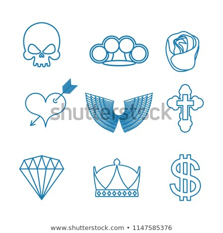 Tattoo set of linear style. Skull and brass knuckles. Rose and h Stock photo © popaukropa