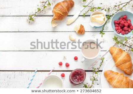 сельский · завтрак · круассан · свежие · Кубок · кофе - Сток-фото © YuliyaGontar
